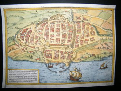 Braun & Hogenberg C1598 Hand Colored Birds Eye View. Cagliari, Sardinia, Sicily | Albion Prints
